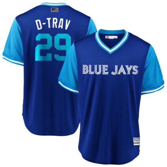 "Devon Travis Toronto Blue Jays Youth Replica ""D-TRAV"" Royal/ 2018 Players' Weekend Cool Base Majestic Jersey - Light Blue"