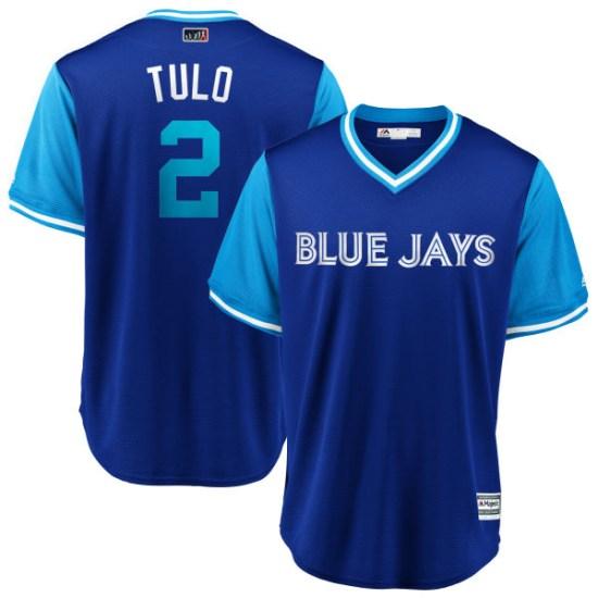 "Troy Tulowitzki Toronto Blue Jays Youth Replica ""TULO"" Royal/ 2018 Players' Weekend Cool Base Majestic Jersey - Light Blue"