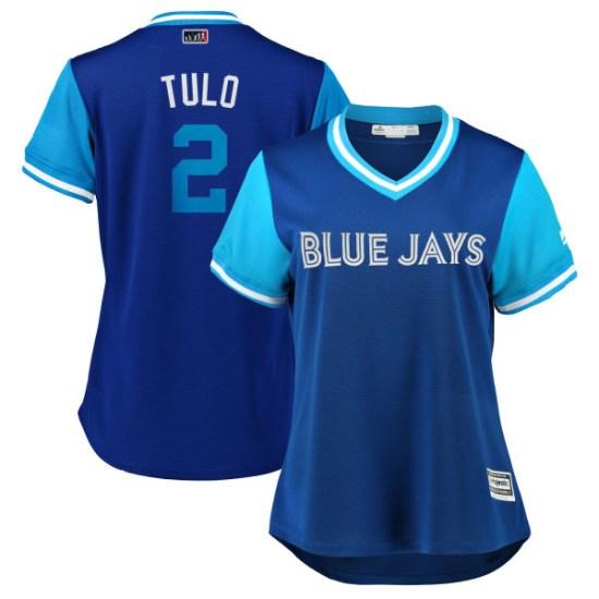 "Troy Tulowitzki Toronto Blue Jays Women's Replica ""TULO"" Royal/ 2018 Players' Weekend Cool Base Majestic Jersey - Light Blue"