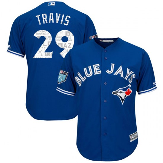 Devon Travis Toronto Blue Jays Youth Replica Cool Base 2018 Spring Training Majestic Jersey - Royal