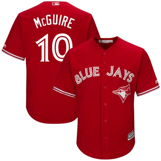 Reese McGuire Toronto Blue Jays Youth Replica Cool Base Alternate Majestic Jersey - Scarlet