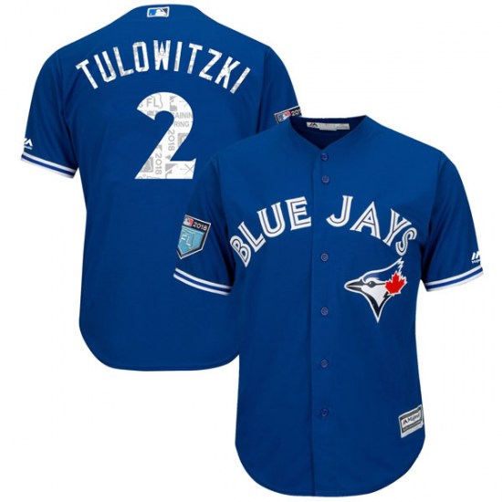 Troy Tulowitzki Toronto Blue Jays Replica Cool Base 2018 Spring Training Majestic Jersey - Royal